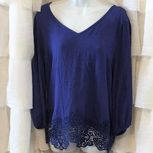 NWT Royal Blue Blouse with Crochet Waist Size L